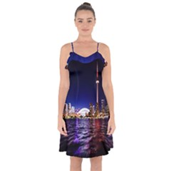 Toronto City Cn Tower Skydome Ruffle Detail Chiffon Dress