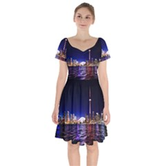 Toronto City Cn Tower Skydome Short Sleeve Bardot Dress