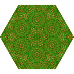 Wonderful Mandala Of Green And Golden Love Mini Folding Umbrellas
