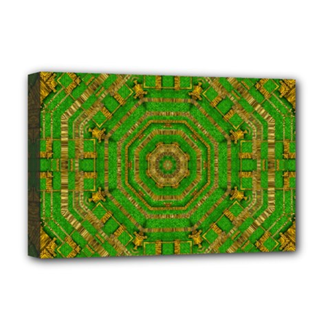 Wonderful Mandala Of Green And Golden Love Deluxe Canvas 18  X 12