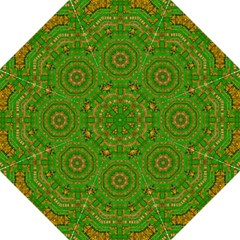 Wonderful Mandala Of Green And Golden Love Hook Handle Umbrellas (large)