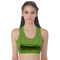 Wonderful Mandala Of Green And Golden Love Sports Bra