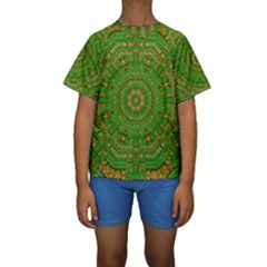 Wonderful Mandala Of Green And Golden Love Kids  Short Sleeve Swimwear