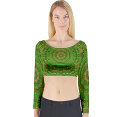 Wonderful Mandala Of Green And Golden Love Long Sleeve Crop Top