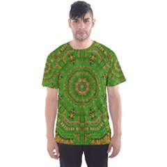 Wonderful Mandala Of Green And Golden Love Men s Sports Mesh Tee