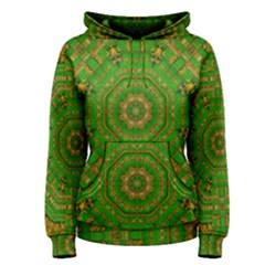 Wonderful Mandala Of Green And Golden Love Women s Pullover Hoodie
