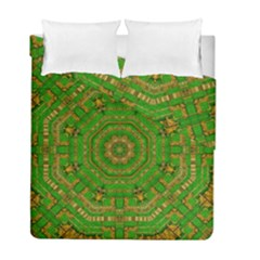 Wonderful Mandala Of Green And Golden Love Duvet Cover Double Side (full/ Double Size)