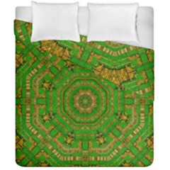 Wonderful Mandala Of Green And Golden Love Duvet Cover Double Side (california King Size) by pepitasart