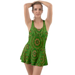 Wonderful Mandala Of Green And Golden Love Ruffle Top Dress Swimsuit