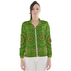 Wonderful Mandala Of Green And Golden Love Wind Breaker (women)