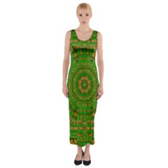 Wonderful Mandala Of Green And Golden Love Fitted Maxi Dress