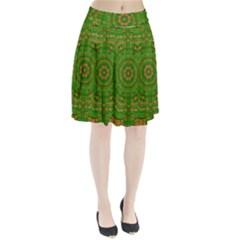 Wonderful Mandala Of Green And Golden Love Pleated Skirt
