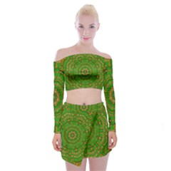 Wonderful Mandala Of Green And Golden Love Off Shoulder Top With Mini Skirt Set