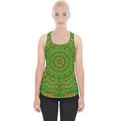 Wonderful Mandala Of Green And Golden Love Piece Up Tank Top