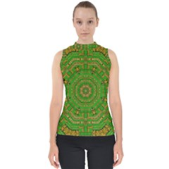 Wonderful Mandala Of Green And Golden Love Shell Top