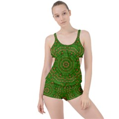 Wonderful Mandala Of Green And Golden Love Boyleg Tankini Set