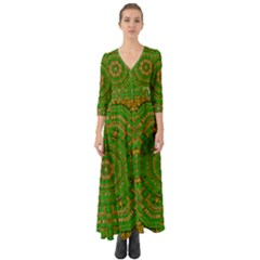 Wonderful Mandala Of Green And Golden Love Button Up Boho Maxi Dress