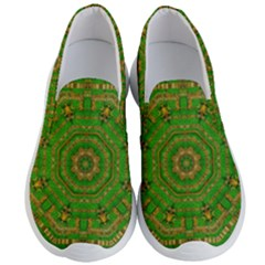 Wonderful Mandala Of Green And Golden Love Men s Lightweight Slip Ons