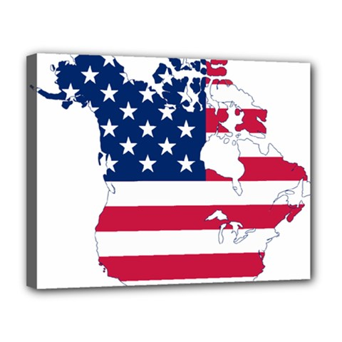 Flag Map Of Canada And United States (american Flag) Canvas 14  X 11  by goodart