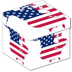 Flag Map Of Canada And United States (american Flag) Storage Stool 12   by goodart