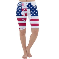 Flag Map Of Canada And United States (american Flag) Cropped Leggings