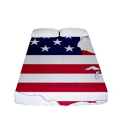 Flag Map Of Canada And United States (american Flag) Fitted Sheet (full/ Double Size) by goodart