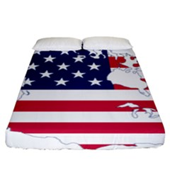 Flag Map Of Canada And United States (american Flag) Fitted Sheet (king Size) by goodart