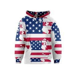Flag Map Of Canada And United States (american Flag) Kids  Pullover Hoodie