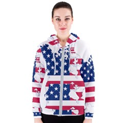 Flag Map Of Canada And United States (american Flag) Women s Zipper Hoodie