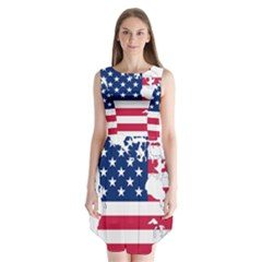 Flag Map Of Canada And United States (american Flag) Sleeveless Chiffon Dress