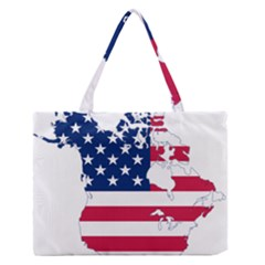 Flag Map Of Canada And United States (american Flag) Zipper Medium Tote Bag