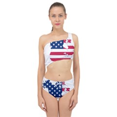 Flag Map Of Canada And United States (american Flag) Spliced Up Swimsuit