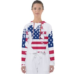 Flag Map Of Canada And United States (american Flag) Women s Slouchy Sweat