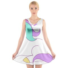 Pastel Unicorn Vector Clipart V Neck Sleeveless Dress
