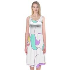Pastel Unicorn Vector Clipart Midi Sleeveless Dress
