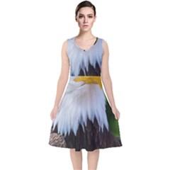 Bald Eagle V Neck Midi Sleeveless Dress