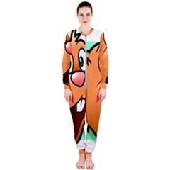 Surprised Chipmunk Face Vector Art Onepiece Jumpsuit (ladies)