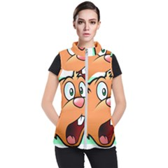Surprised Chipmunk Face Vector Art Women s Puffer Vest