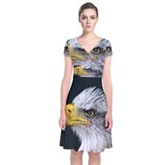 Bald Eagle Portrait  Short Sleeve Front Wrap Dress