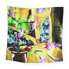 Lilac On A Countertop Square Tapestry (large)
