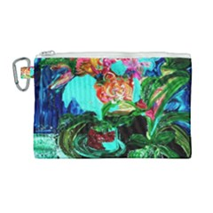 Flowers On The Tea Table Canvas Cosmetic Bag (large) by bestdesignintheworld