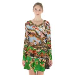 Coral Tree Long Sleeve Velvet V Neck Dress