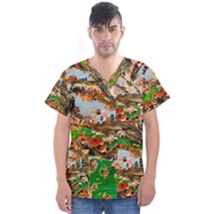 Coral Tree Men s V Neck Scrub Top