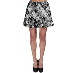 Black And White Patchwork Pattern Skater Skirt