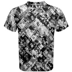 Black And White Patchwork Pattern Men s Cotton Tee