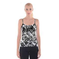 Black And White Patchwork Pattern Spaghetti Strap Top