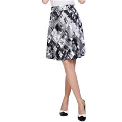 Black And White Patchwork Pattern A Line Skirt