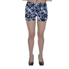Black And White Patchwork Pattern Skinny Shorts
