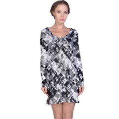 Black And White Patchwork Pattern Long Sleeve Nightdress