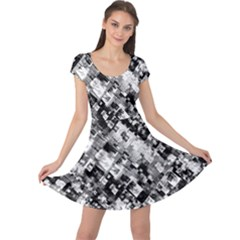 Black And White Patchwork Pattern Cap Sleeve Dress